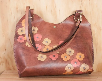 Leather Tote - Large Handbag with Poppies in orange, pink, yellow and antique mahogany