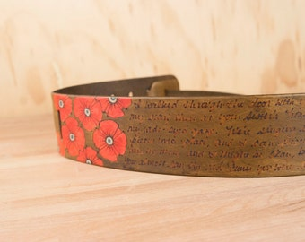Personalized Guitar Strap - Custom Leather Guitar Strap - Poppy Garden Smokey with flowers and inscription