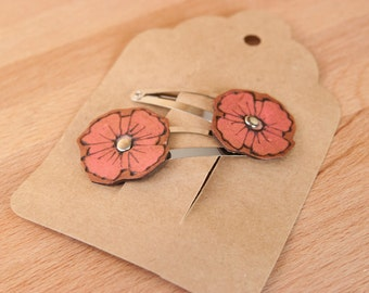 Flower Hair Clip Set  - Girls Hair Clips - Womens Hair Clips - Leather in Pink - Poppy Garden pattern
