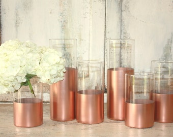 Rose Gold wedding decor,  6 CUSTOM Rose Gold dipped cylinder vases or candle holders, table decorations, wedding table centerpieces, pillar