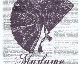 Vintage Book Page Print.Madame.fan.Home Deco.birthday.art.french.mixed media art.antique.classic.steam punk.bath.eco.gift.bathroom sign.mom