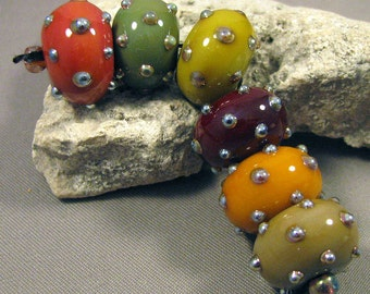 Handmade Lampwork Beads by Monaslampwork - Autumn Glitter - Lampwork Glass Beads Organic Fall Autumn dots Mona Sullivan Boho Tribal Gypsy
