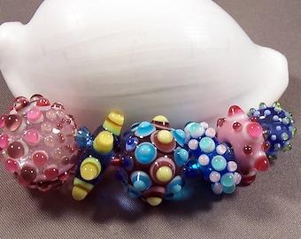 Handmade Lampwork Beads by Monaslampwork - Multi Colored Dots on Dots - Lampwork Glass Beads by Mona Sullivan Boho Color Dots Organic