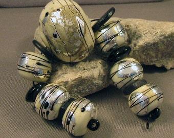 Handmade Lampwork Bead Set by Monaslampwork - Abstract Art - Handmade Lampwork by Mona Sullivan Boho Organic Tribal Gypsy Fall Autumn