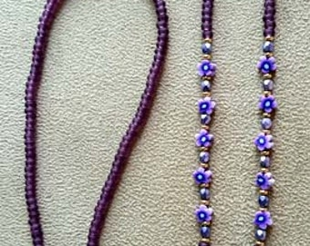 Purple FLOWER And Crystal EYEGLASS CHAIN