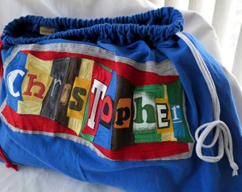 Build a Fort Kit Upcycled Drawstring Bag SET Personalized ONE Bag Two Sheets Five Clothespins Five Clamps