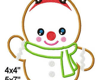 Christmas Gingerbread Reindeer Machine Embroidery Applique Pattern Design 4x4 5x7 6x10 7x11 INSTANT DOWNLOAD