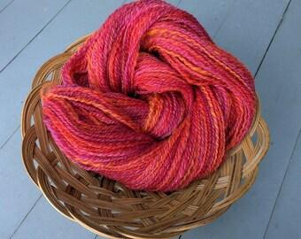 SALE! Geranium, handspun wool and silk yarn, 76 g/236 yds