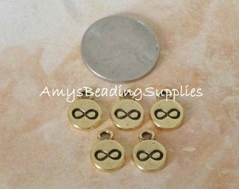 Charm Itsy Spiritual infinity, NUNN DESIGN, Sterling Silver Plat or Antique Gold (5 pieces per pkg)