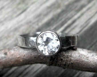 20% OFF TODAY - White Topaz Ring … gemstone ring stacking ring 6mm white topaz wide band ring