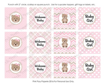 Printable Pink Teddy Bear Girl Baby Shower Cupcake Toppers - Instant Download