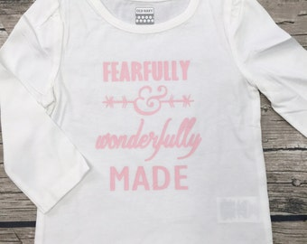 Girls Pink White Fearfully and Wonderfully Made Long Sleeve T Shirt modern graphic trendy