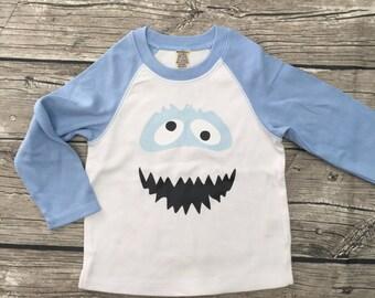 Boys Unisex Abominable Snowman Yeti Baseball T long Sleeve T Shirt White light Blue Gray modern graphic trendy