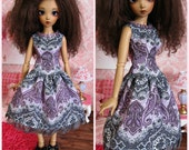 Purple & Gray Damask Dress for MiniFee by Tickled Pink by Julie
