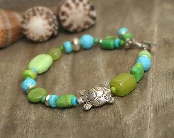 Honu Bracelet, Turtle Bracelet, Turquoise Bracelet, Hawaii Turtle Bracelet, Resort Jewelry, Resort Wear Bracelet, Summer Bracelet, Green