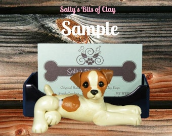 Jack Russell Terrier Dog Holder for: Business Cards / Cell Phones / IPhones / Post It Notes OOAK by Sally's Bits of Clay