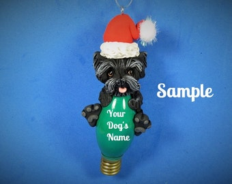 Black Cairn Terrier Santa dog Christmas Holidays Light Bulb Ornament OOAK Sally's Bits of Clay PERSONALIZED FREE with dog's name