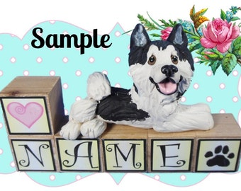 Siberian Husky dog PERSONALIZED with your dog's name on blocks by Sally's Bits of Clay