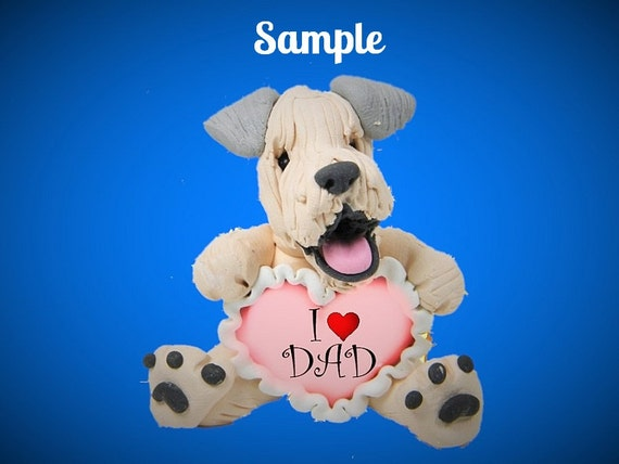 Wheaten Terrier Dog Sculpture love DAD OOAK Clay art by Sally's Bits of Clay