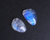 Gemstone Cabochons Rainbow Moonstone Rose Cut Free Form Parcel TWO CABS