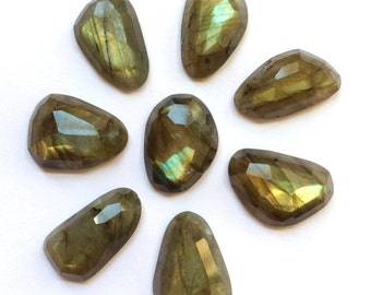 Gemstone Cabochon Labradorite Free Form Faceted Parcel EIGHT CABS