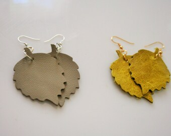 Leather Leaf Earrings Choose your color