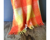 Wool Mohair Blanket - Cree Mills Mohair Blanket - Orange and Yellow