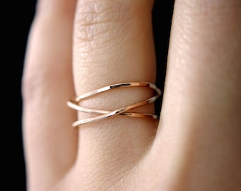 14K Rose Gold Fill Wraparound ring, rose gold wrap ring, wrapped rose gold ring, rose gold wrap ring, rose gold loop ring, wrap ring