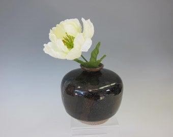 Dark Brown Bud Vase - Handmade Stoneware Pottery - Round Vase - Minimalist Design