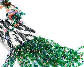 Beaded Animal Print Amulet Bag, Necklace, Beadwork, Flowers, Tiger Stripe, Fringe, Clearnace