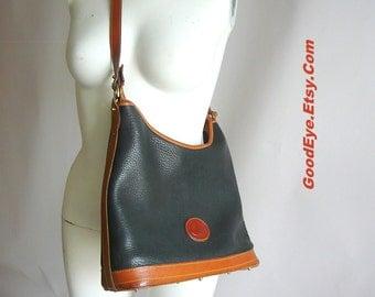 Vintage 90s DOONEY Bourke Shoulder Bag HOBO All Weather Leather Cross Body Purse Medium size Black