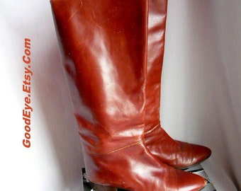 Vintage Leather Stovepipe Boots size 7 .5 Eu 38 UK 5 BAREFOOT ORIGINALS   Slouch Knee 80s Cognac Spain Narrow Width
