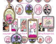 collage sheets for jewelry, Perfectly Precious Poodles, INSTANT Digital Download at Checkout, jewelry sampler, 30 x 40 1 x 2 inchies, 25mm