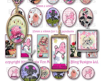 Perfectly Precious Poodles, INSTANT Download at Checkout, sizes for 30mm x 40mm, 1 x , 2 inchies, 25mm, poodles, pink,retro collage sheets