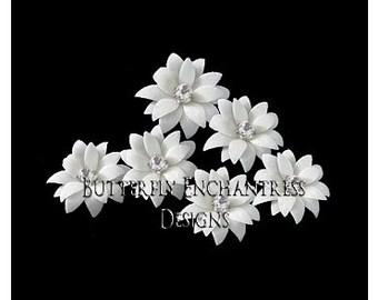 White Bridal Hair Flowers, Wedding Hair Accessories, Bridesmaid Gift - 6 White Vintage-Inspired Mini Dahlia Flower Hair Pins - Rhinestone
