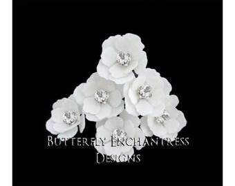 White Hair Flowers, Bridal Hair Accessories, Beach Wedding, Bridesmaid Gift, Hair Piece - 12 White Mini Buttercup Hair Pins - Rhinestone