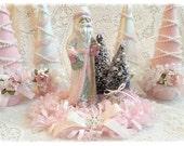Shabby Pink and White SANTA St Nick Bottle Bottle Brush Tree ECS sct schteam SVFTeam