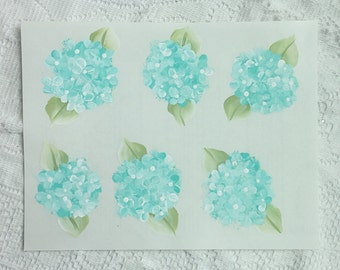 Hand Painted Aqua/Robins Egg Blue Hydrangeas Transparent Label Peel Stick 8x11.5 Sheets Ecs svfteam
