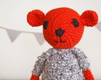 Teddy Bear, Knitted Teddy Bear, Handmade Teddy Bear, Baby Gift, Unisex Baby Shower Gift, Newborn Gift, Red Teddy Bear, Unisex Baby Gift