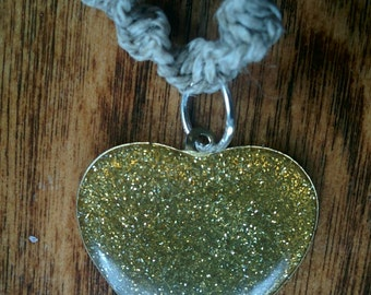 Gold Glitter Heart Pendant on Natural Hemp Choker