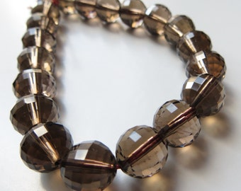 10mm Faceted Smoky Quartz Beads, Half Strand, 7.5 in., 20 Beads