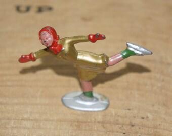 Antique Barclay lead figure skater figurine   gold dress