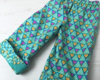 Flannel reversible pants, sizes 6m-12m, 12m-18m, 18-24m, 3T
