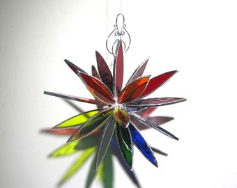 Spectrum Petals - 3D Stained Glass Flower Burst - Large Colorful Abstract Home Garden Decor Suncatcher Hanging Ornament (READY TO SHIP)