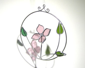 From the Woods - 3D Stained Glass Nature Spinner - Mini Spinning Dogwood Wire Home Garden Decor Yard Art Suncatcher (READY TO SHIP)