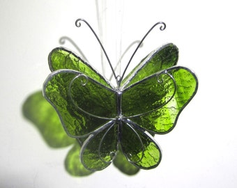 Forest Wings - 3D Stained Glass Butterfly Twirl - Small Green Hanging Suncatcher Home Garden Decor 3Dimensional Ornament (READY TO SHIP)
