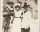 vintage photo 1920s Cowboy Guys w Nurse Grab Her Arm