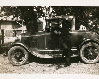 Vintage photo Young Man by his Coupe Car in Waterloo Iowa