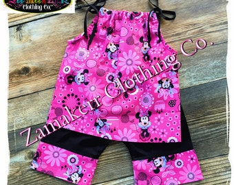 Birthday Girl Minnie Mouse Summer Outfit Set Capri Shorts Pant Clothing Black Pink Size 3m 6m 9m 9 12 18 24 month 2 2T 3 3T 4T 4 5T 5 6 7 8