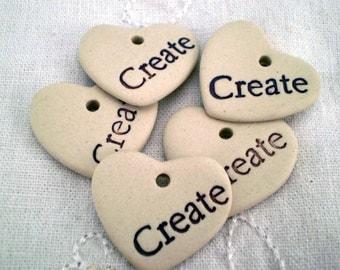 5 Create Heart Pendants, Loose Word Beads, DIY Heart Beads, Ceramic Heart Pendants, Ceramic Word Beads, Inspirational Beads(btl)
